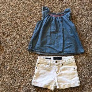 White denim shorts w/ blue denim embroidered shirt